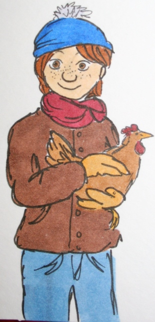 This is me, as illustrated by very talented Sarah Jane.  I believe I am holding Emma Grace, our sweet little hen-that-could!
