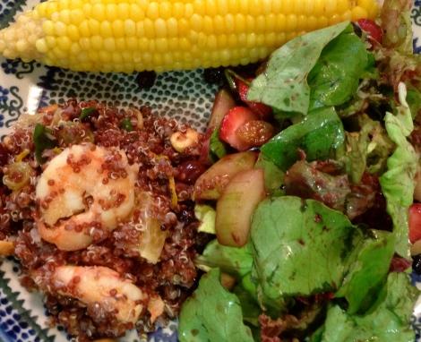 Quinoa & Spicy Shrimp, green salad and corn