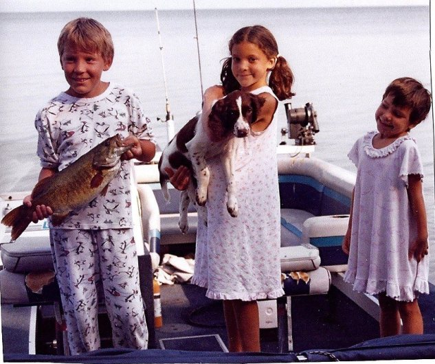 Jody, SJ & Char with Abe in 2001 on Lake Champlain